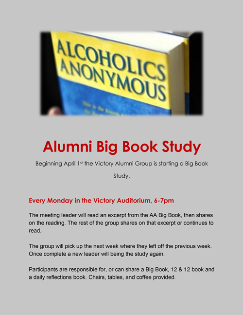 Alumni Big Book Study - Victory Addiction Recovery Center - weekly meetings