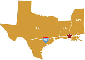 map of Texas, Louisiana, Mississippi - Victory Addiction Recovery Center in Lafayette, Louisiana - drug rehab, alcohol rehab - addiction treatment center