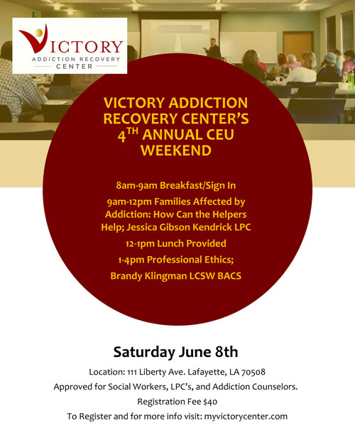 Victory Addiction Recovery Center - 4th Annual Professional CEU Weekend - June 8, 2019