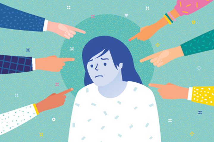 illustration of sad woman with many hands pointing their fingers at her - stigma of addiction