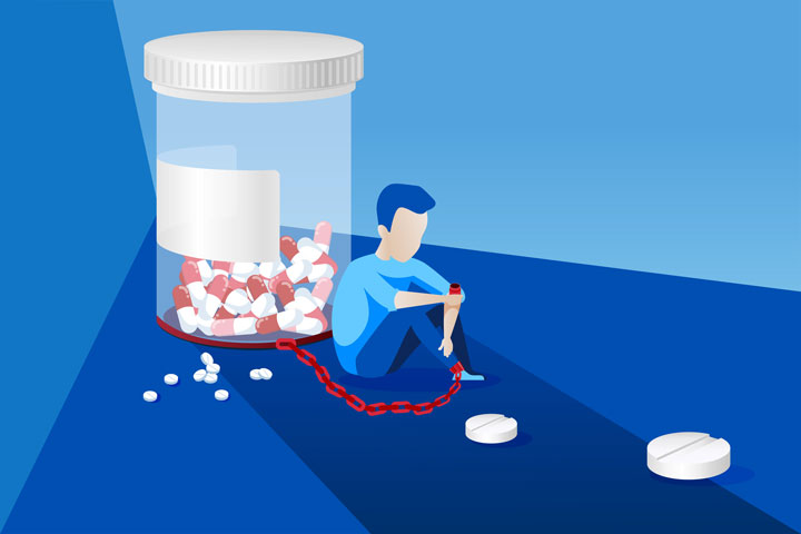 illustration of man shackled to pill bottle in dark room - prescription drug addiction
